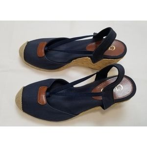 Chaps Navy Blue Spadrille Slingback Sandals,  6B